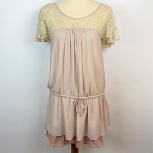 Anthro Lace Drop Waist Dress Dusty Rose Small